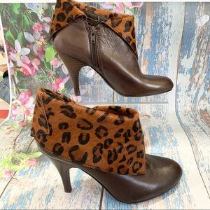 Nine West Animal Print Cow Leather Fur Ankle Boots